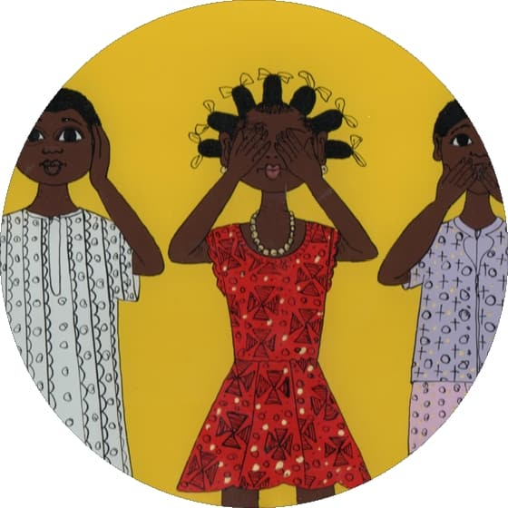 Fabienne Hejoaka / MAH Gueye / Senegalese children's drawings for HIV prevention showing Three wise women and the red knot symbol
